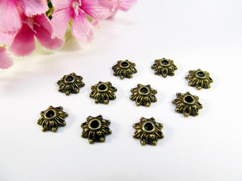 - 30 Perlenkappen 8mm, in Blumenform, Farbe bronze - 30 Perlenkappen 8mm, in Blumenform, Farbe bronze