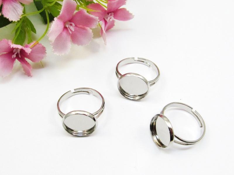 - 10 Ring Rohlinge für 12mm Cabochons, Farbe platin - 10 Ring Rohlinge für 12mm Cabochons, Farbe platin