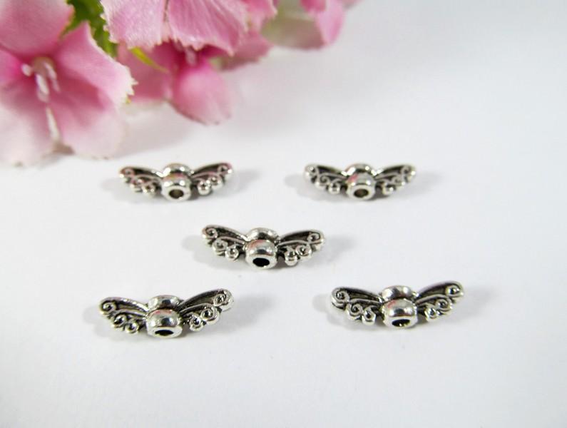 """- 30 Mini Flügel """"Schmetterling"""", Farbe silber antik - 30 Mini Flügel """"Schmetterling"""", Farbe silber antik"""
