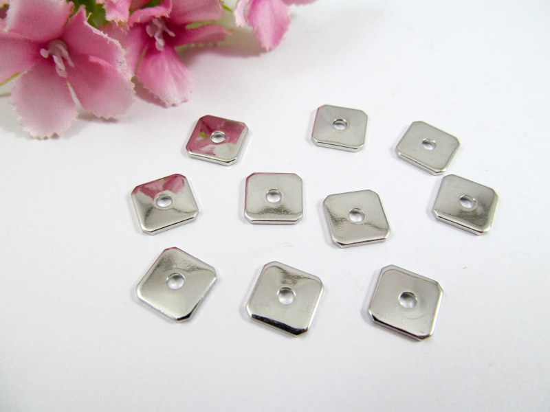 - 10 Spacer / Zwischenperle Quadrat 8x8mm, Farbe platin - 10 Spacer / Zwischenperle Quadrat 8x8mm, Farbe platin