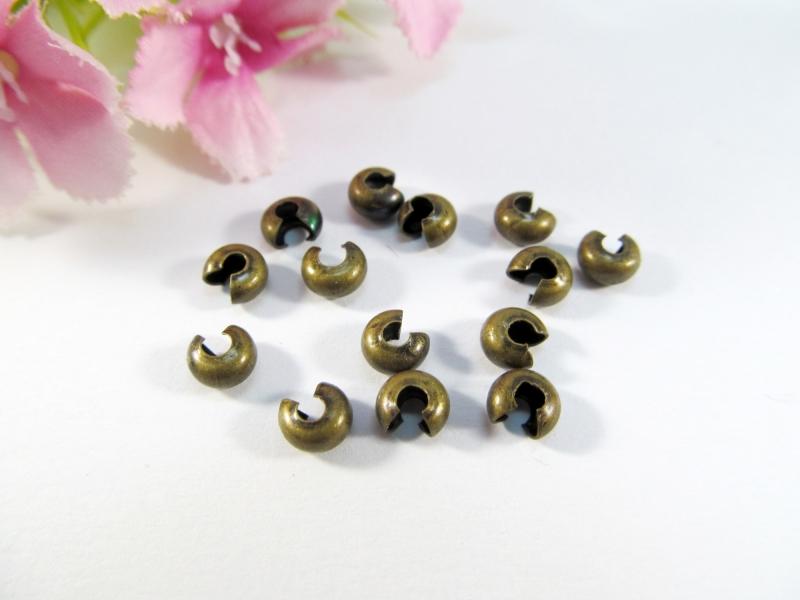 - 300 Kaschierperlen / Crimp Cover 4mm, Farbe bronze - 300 Kaschierperlen / Crimp Cover 4mm, Farbe bronze