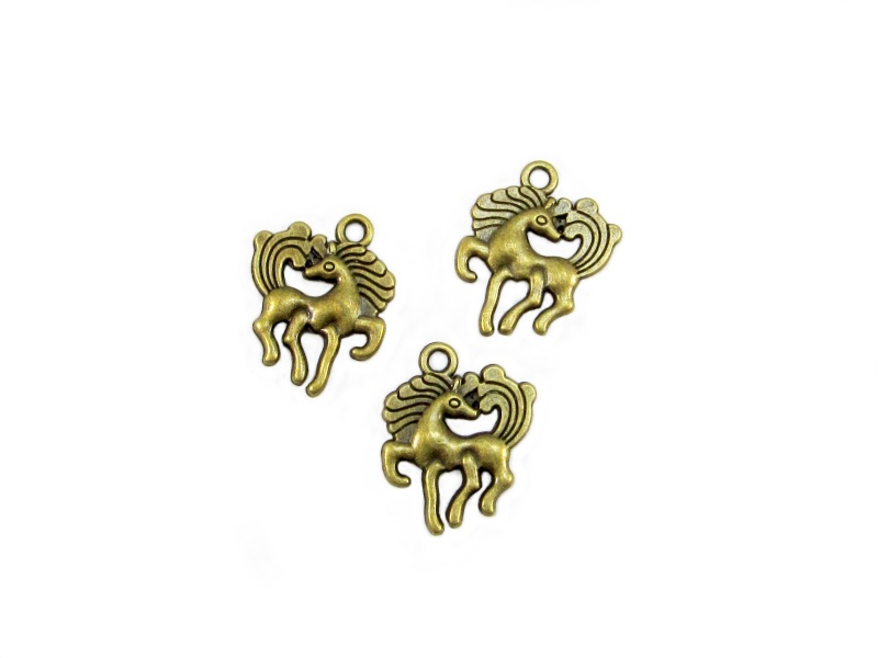 Kleinesbild - 10 Pferd / Pony Anhänger Charm, Farbe bronze