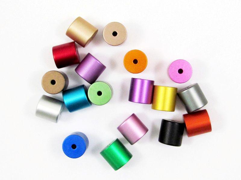 Kleinesbild - 5 Alu Walzen / Zylinder eloxiert 10x10 mm, Wunsch-Mix