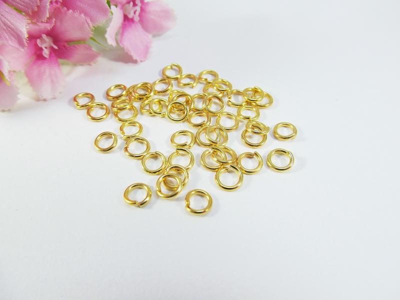 - 300 Binderinge / Biegeringe 5mm, Farbe gold - 300 Binderinge / Biegeringe 5mm, Farbe gold