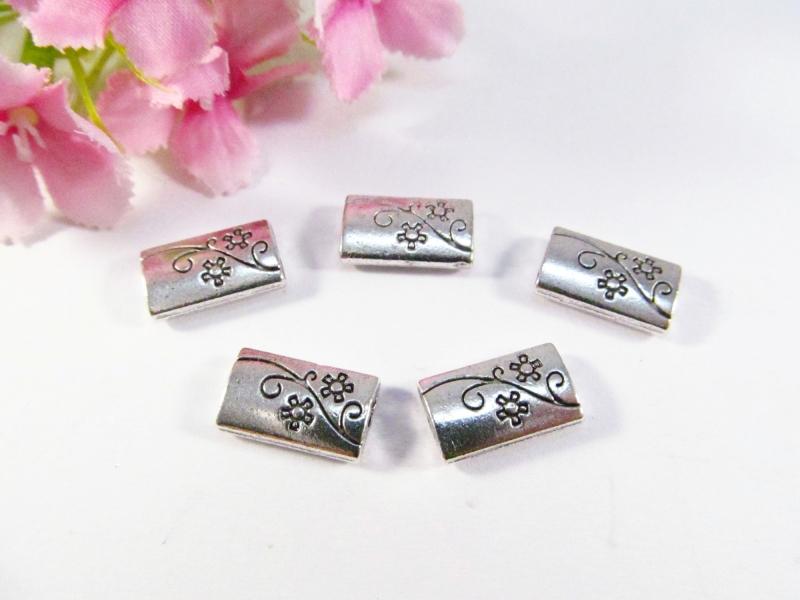 - 10 Metallperlen rechteckig, in Kissenform, Farbe silber antik - 10 Metallperlen rechteckig, in Kissenform, Farbe silber antik