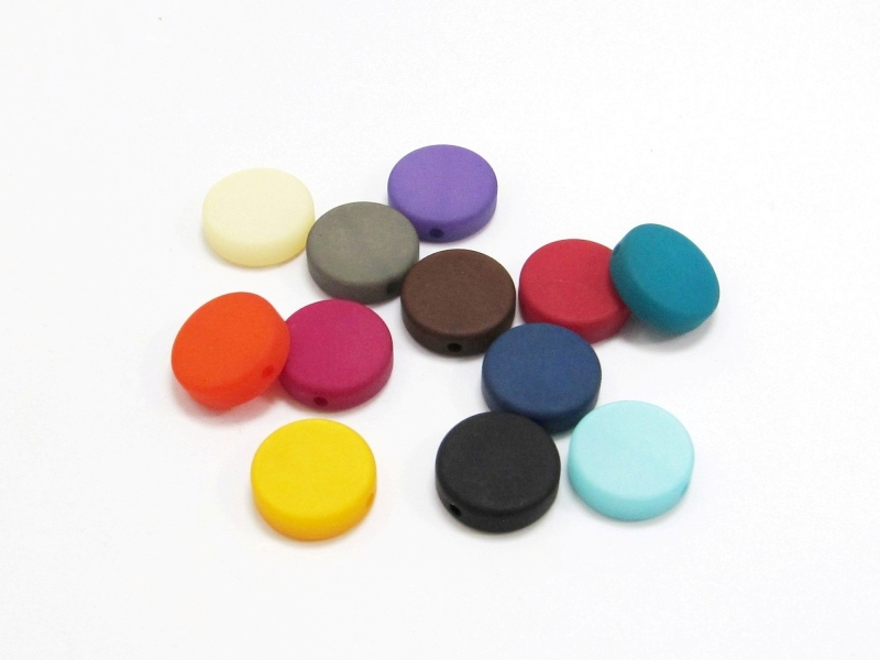 - 30 Polarisperlen: Coins /Scheiben 12mm matt, Wunsch-Mix - 30 Polarisperlen: Coins /Scheiben 12mm matt, Wunsch-Mix