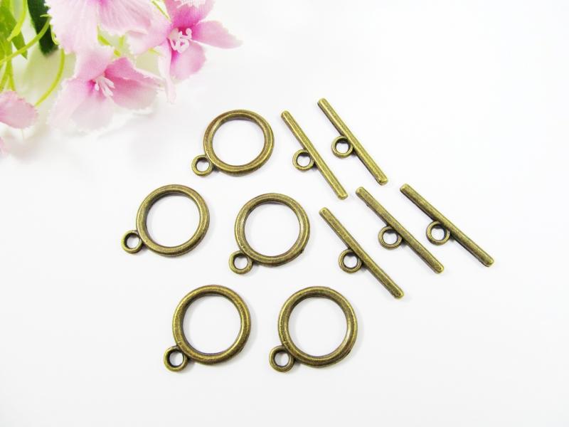 - 5 Knebelverschlüsse / Toggles, Farbe bronze - 5 Knebelverschlüsse / Toggles, Farbe bronze