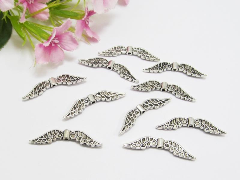 Kleinesbild - 50 Flügel Perlen 32x6mm, Farbe silber antik