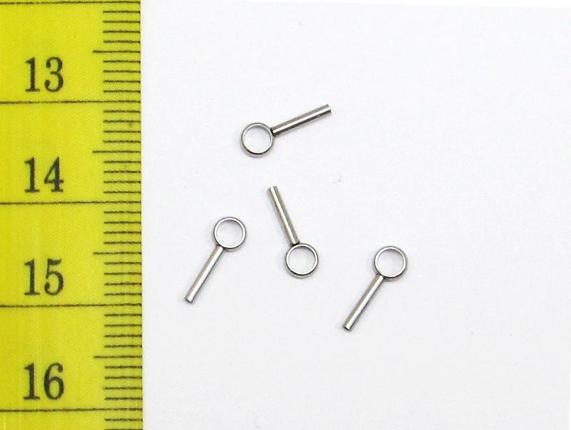 Kleinesbild - 30 feine Edelstahl Endkappen Ösen für 0,7mm Schmuckdraht / Schnur