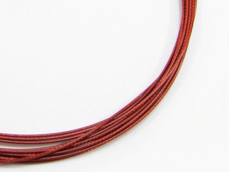 Kleinesbild - (1,10€/m) 3 Meter Premium Schmuckdraht / Stahlseil 0,7mm, Nylon ummantelt, rot