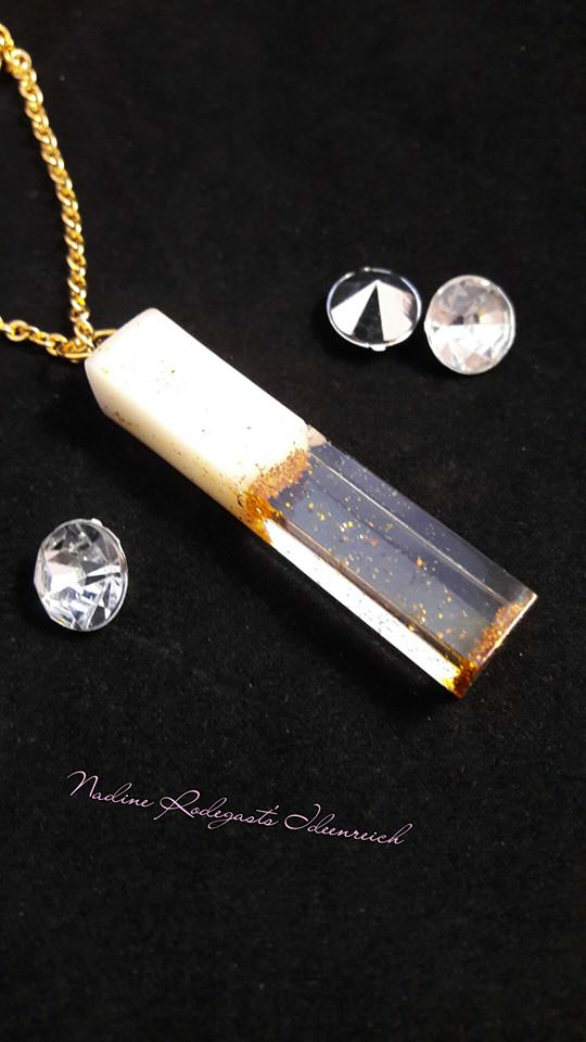Kleinesbild - Muttermilchschmuck Kette und länglichen Formen, Zylinder, Viereck, Kristall mit Glitzer oder Blattmetall (Kopie id: 100051831)