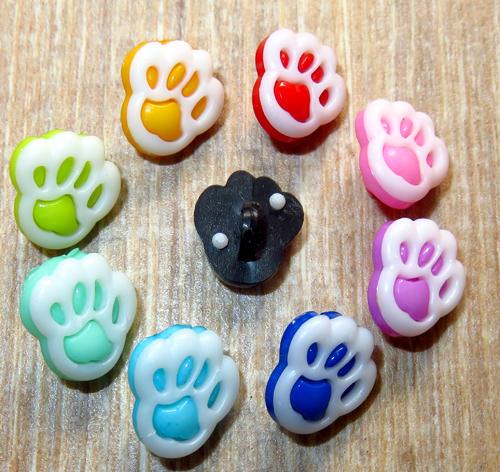 Kleinesbild - 10 bunte Kinderknöpfe Ösenknöpfe Pfote Paw Hund Katze Knöpfe zum Basteln und nähen  (Kopie id: 30834) (Kopie id: 30849) (Kopie id: 30854)