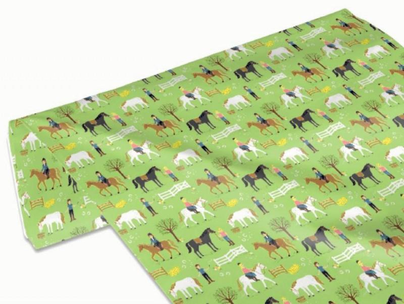 Kleinesbild - 50cm Baumwollstoff 100% Baumwolle Meterware Kinderstoff Hergestellt nach ÖkoTex100 Reiterhof / Ponyhof grün