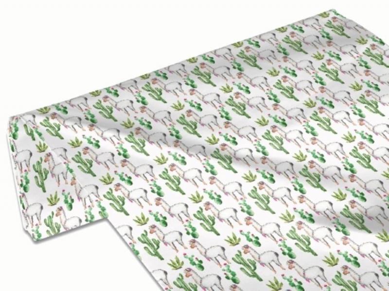 Kleinesbild - 50cm Baumwollstoff 100% Baumwolle Meterware Kinderstoff Hergestellt nach ÖkoTex100 Lama Alpaka Kaktus weiß