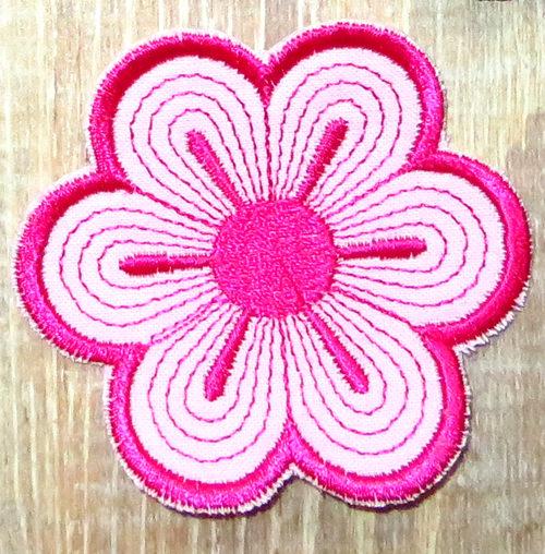 Kleinesbild - Applikation Stickbild Bügelflicken Aufnäher Bügelbild Hosenflicken Knieflicken Verzierung Blume Stickblume Farbwahl 7cm