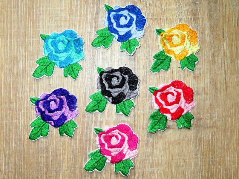 - Applikation Stickbild Bügelflicken Aufnäher Bügelbild Hosenflicken Knieflicken Verzierung Blume Rose Stickblume Farbwahl 7cm  - Applikation Stickbild Bügelflicken Aufnäher Bügelbild Hosenflicken Knieflicken Verzierung Blume Rose Stickblume Farbwahl 7cm