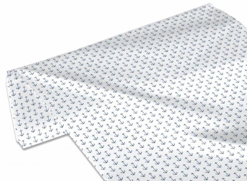 Kleinesbild - 50cm Single Jersey Stoff Meterware Kinderstoff / Bekleidungsstoff Hergestellt nach ÖkoTex100 Anker Dunkelblau Weiß