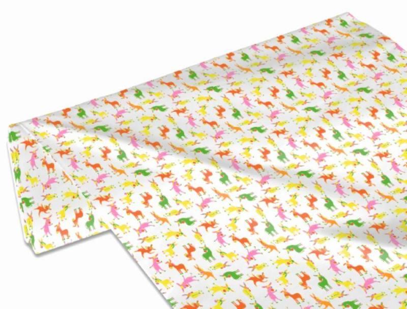 Kleinesbild - 50cm Single Jersey Stoff Meterware Kinderstoff / Bekleidungsstoff Hergestellt nach ÖkoTex100 Esel rosa orange gelb grün