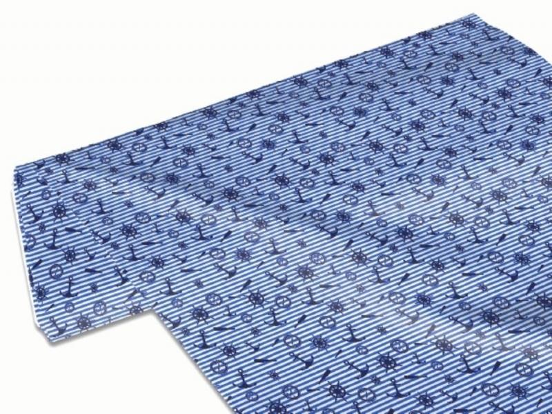 Kleinesbild - 50cm Single Jersey Stoff Meterware Kinderstoff / Bekleidungsstoff Hergestellt  nach ÖkoTex100 Maritim blau gestreift Anker