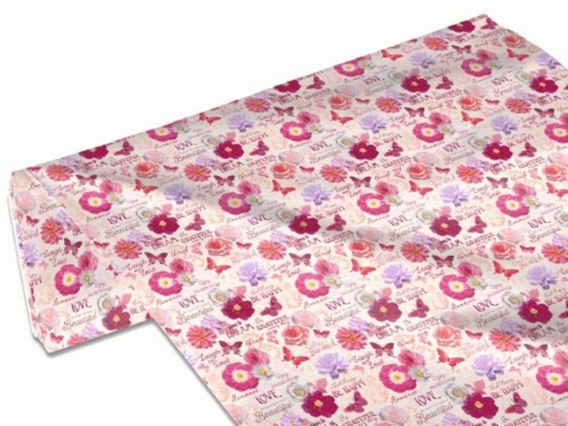 Kleinesbild - 50cm Baumwollstoff 100% Baumwolle Meterware Kinderstoff Hergestellt nach ÖkoTex100 Rosen, Blüten und Schrift Pink Rosa