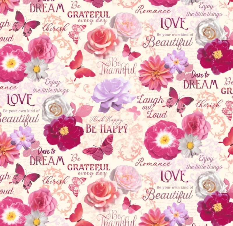 - 50cm Baumwollstoff 100% Baumwolle Meterware Kinderstoff Hergestellt nach ÖkoTex100 Rosen, Blüten und Schrift Pink Rosa  - 50cm Baumwollstoff 100% Baumwolle Meterware Kinderstoff Hergestellt nach ÖkoTex100 Rosen, Blüten und Schrift Pink Rosa