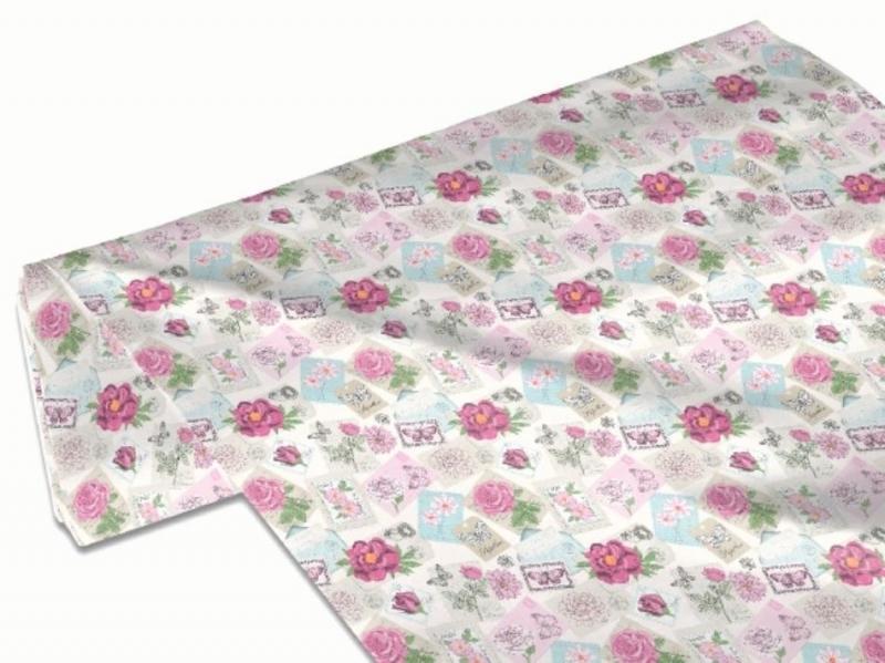 Kleinesbild - 50cm Baumwollstoff 100% Baumwolle Meterware Kinderstoff Hergestellt nach ÖkoTex100 Rosen, Blüten und Schrift Rosa Postkarten
