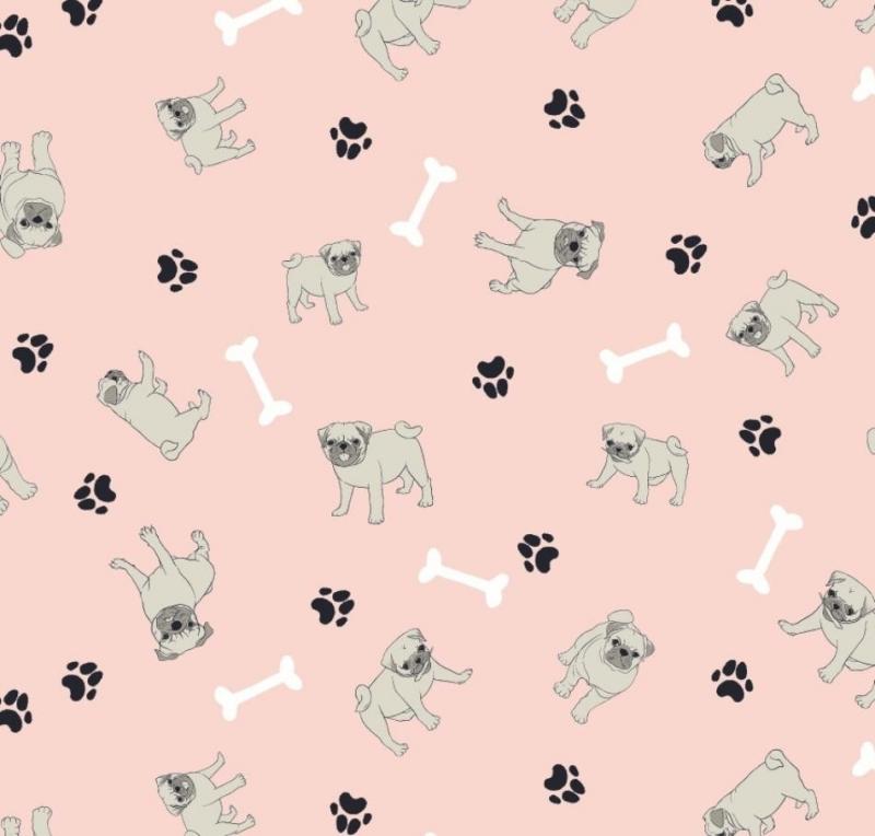 - 50cm Baumwollstoff 100% Baumwolle Meterware Kinderstoff Hergestellt nach ÖkoTex100 Hunde, Mops, Knochen, Pfote - 50cm Baumwollstoff 100% Baumwolle Meterware Kinderstoff Hergestellt nach ÖkoTex100 Hunde, Mops, Knochen, Pfote