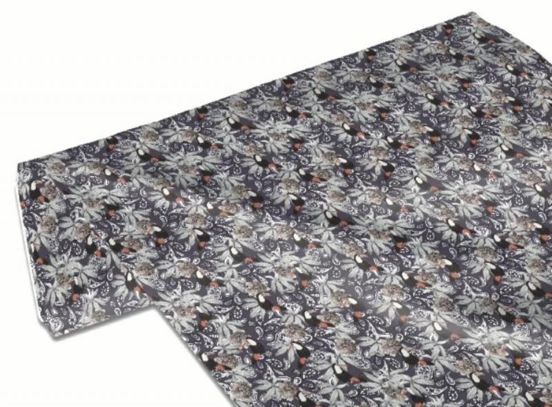 Kleinesbild - 50cm Baumwollstoff 100% Baumwolle Meterware Kinderstoff Hergestellt nach ÖkoTex100 Tukan und Paisley auf Grau