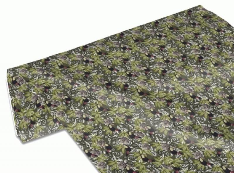 Kleinesbild - 50cm Baumwollstoff 100% Baumwolle Meterware Kinderstoff Hergestellt nach ÖkoTex100 Tukan und Paisley auf Grün