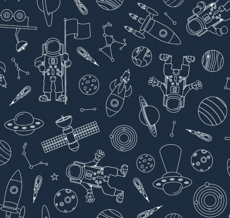 - 50cm Baumwollstoff 100% Baumwolle Meterware Kinderstoff Hergestellt nach ÖkoTex100 Universum Planeten Raketen Sateliten Dunkelblau  - 50cm Baumwollstoff 100% Baumwolle Meterware Kinderstoff Hergestellt nach ÖkoTex100 Universum Planeten Raketen Sateliten Dunkelblau