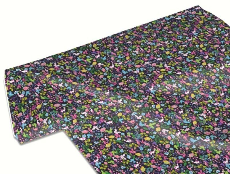 Kleinesbild - 50cm Baumwollstoff 100% Baumwolle Meterware Kinderstoff Hergestellt nach ÖkoTex100 Bunte Blumen Blüten, Blätter, Vögel, Rehe