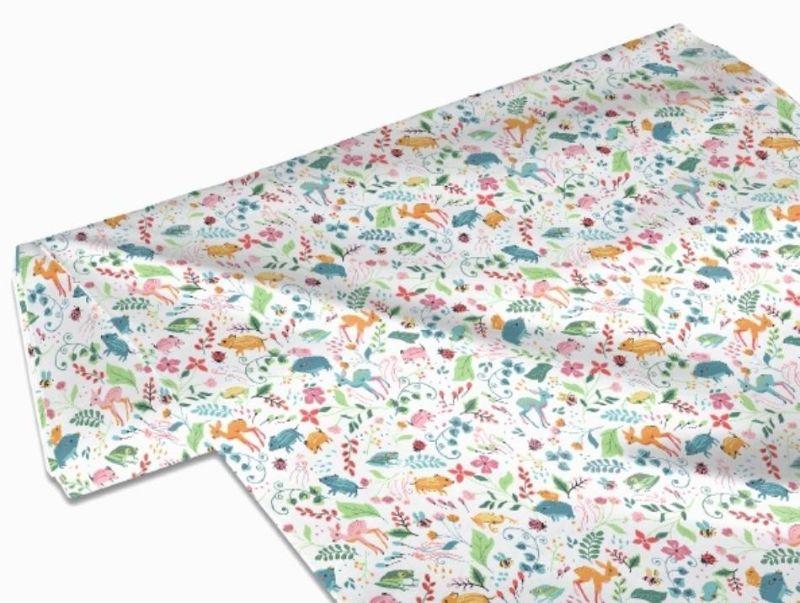 Kleinesbild - 50cm Baumwollstoff 100% Baumwolle Meterware Kinderstoff Hergestellt nach ÖkoTex100 Bunte Blumen, Blätter, Rehe, Bienen, Frösche, Wildschweine, Waldtiere