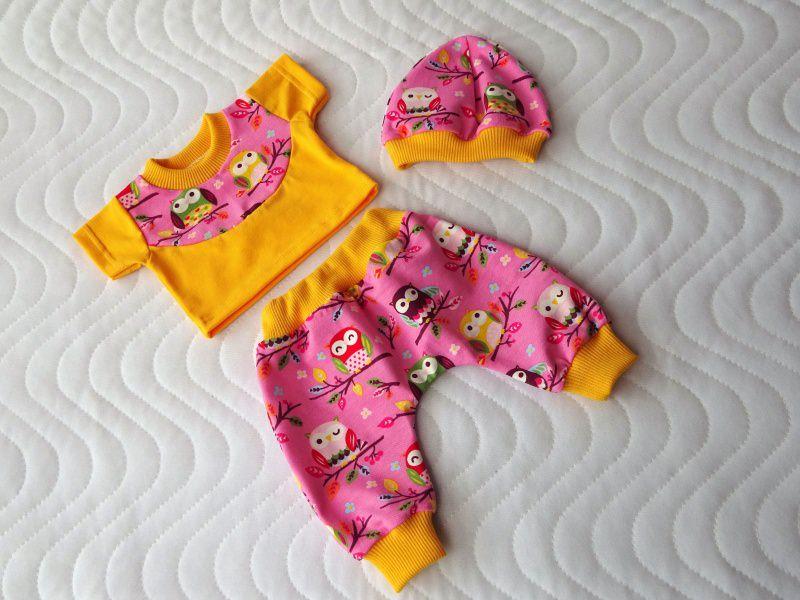 Kleinesbild - 3 tlg. Puppenkleider Set Hose Shirt Mütze mit Eulen Motiv ca. 32-33 cm