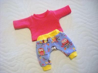 - 2 tlg. Puppenkleider Set Hose & Shirt Eulen ca.36-38 cm - 2 tlg. Puppenkleider Set Hose & Shirt Eulen ca.36-38 cm