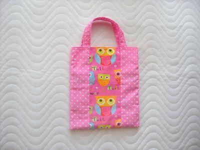 - Handgemachte Kindertasche Wendetasche Stofftasche mit Eulen Motiv  - Handgemachte Kindertasche Wendetasche Stofftasche mit Eulen Motiv