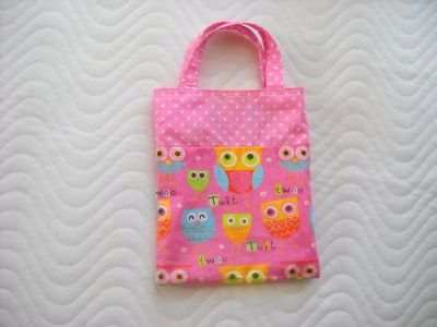 Kleinesbild - Handgemachte Kindertasche Wendetasche Stofftasche mit Eulen Motiv