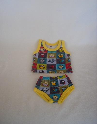 - Handgemachte Puppenkleidung Unterwäsche Hemd & Slip mit Eulen Motiv ca. 43 cm   - Handgemachte Puppenkleidung Unterwäsche Hemd & Slip mit Eulen Motiv ca. 43 cm