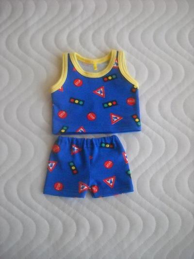 Kleinesbild - Handgemachte Puppenkleidung Unterwäsche Hemd & Hose Jungs ca. 43 cm,