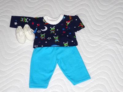 - Handgemachtes Schlafanzug Set Hose, Oberteil & Bettschuhe für Puppen ca. 43cm   - Handgemachtes Schlafanzug Set Hose, Oberteil & Bettschuhe für Puppen ca. 43cm
