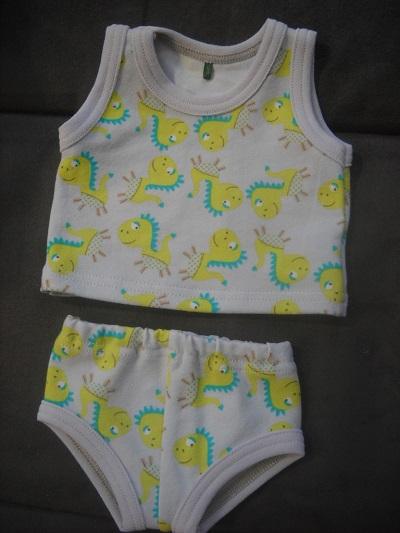 - Handgemachte Unterwäsche Set Hemd & Hose Jungs Dino Saurier ca. 43 cm  - Handgemachte Unterwäsche Set Hemd & Hose Jungs Dino Saurier ca. 43 cm