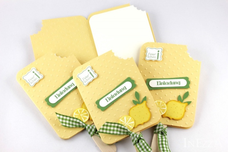 Kleinesbild - Einladungskarten Eis am Stiel Zitrone 4-er Set für den Kindergeburtstag mit echtem Holzstiel