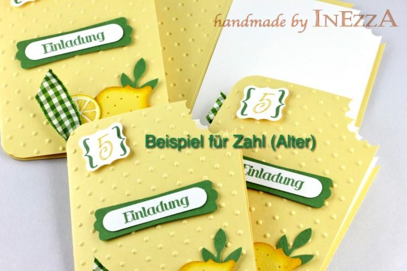 Kleinesbild - Einladungskarten Eis am Stiel 4-er Set Kirsche mit echtem Holzstiel für Kindergeburtstag