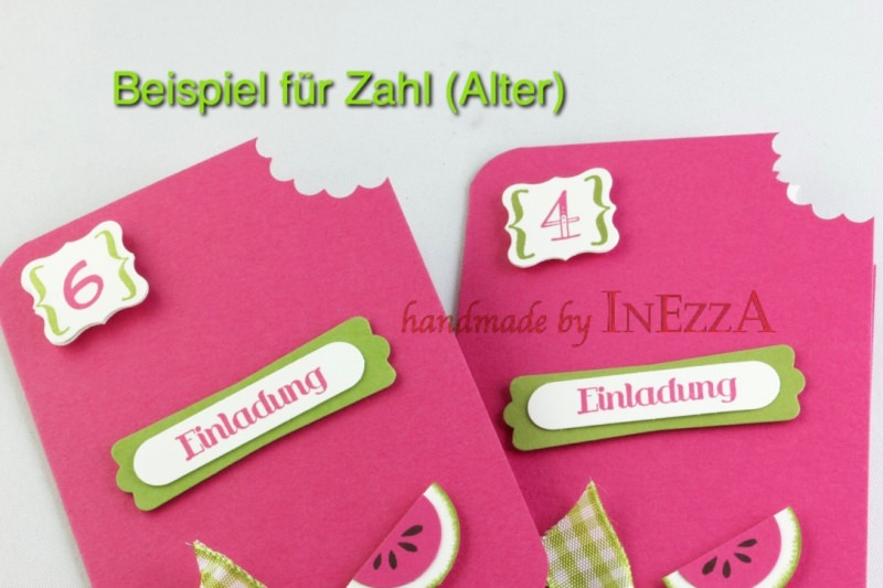 Kleinesbild - Einladungskarten - Eiskarten - Melone - 4-er Set
