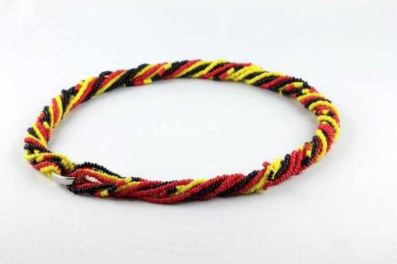Kleinesbild - Mehrstrangkette schwarz-rot-gelb Fußball Fanschmuck Wickelkette