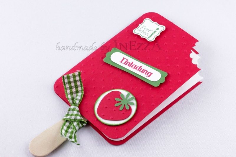 - Einladungskarten 4-er Set Eis am Stiel Erdbeere für den Kindergeburtstag mit echtem Holzstiel - Einladungskarten 4-er Set Eis am Stiel Erdbeere für den Kindergeburtstag mit echtem Holzstiel