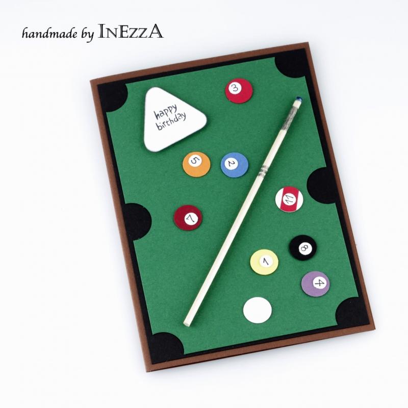 Kleinesbild - Billard Grußkarte zum Geburtstag für Herren Snooker