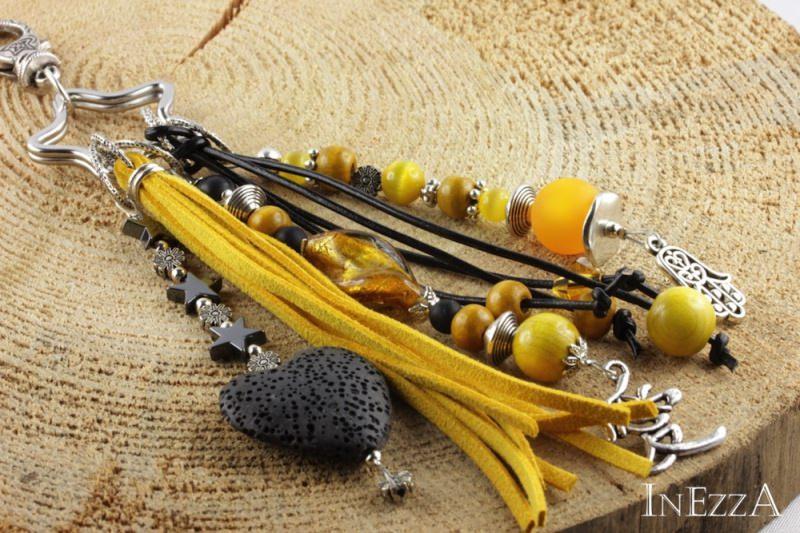 - Taschenbaumler Anhänger für die Handtasche in schwarz-gelb-silbern - Taschenbaumler Anhänger für die Handtasche in schwarz-gelb-silbern