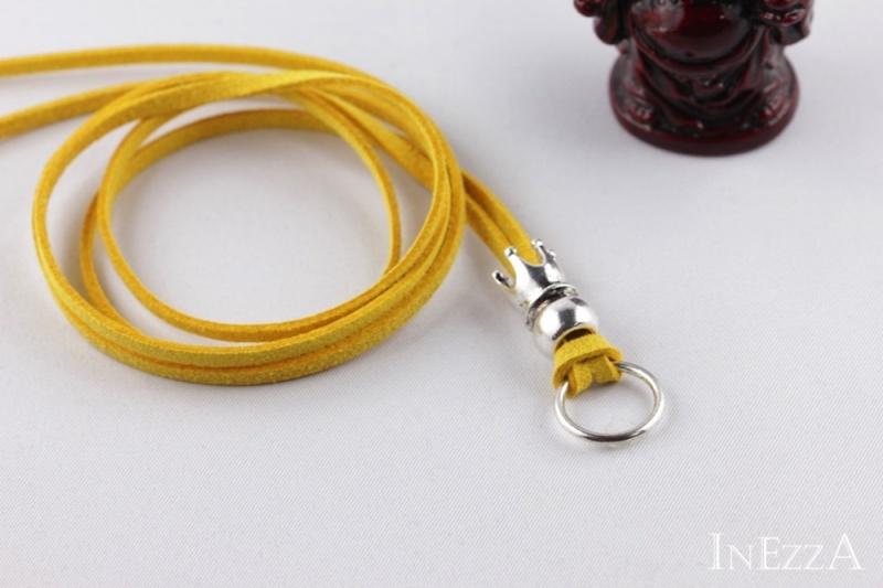 - VELOURBasisband Gelb mit Krone und Ring für Wechselanhänger Charmkette - VELOURBasisband Gelb mit Krone und Ring für Wechselanhänger Charmkette