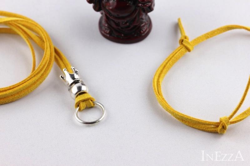 Kleinesbild - VELOURBasisband Gelb mit Krone und Ring für Wechselanhänger Charmkette