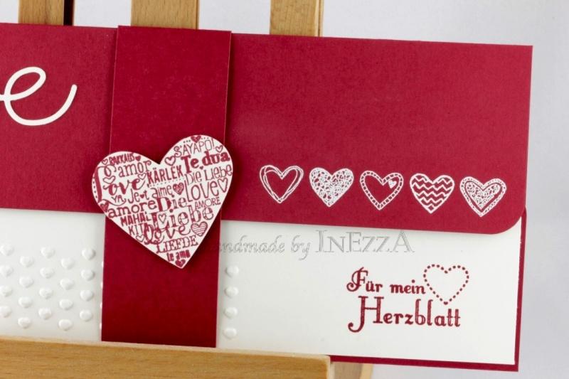 Kleinesbild - Geschenkverpackung für Konzertkarte ♥ LOVE ♥ Für mein Herzblatt dunkelrot weiss